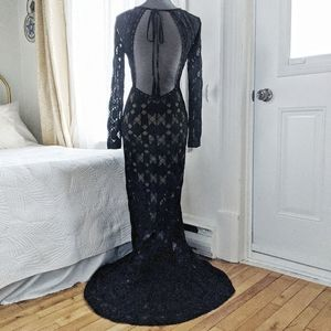 NWT - Minuet black lace maxi dress with open back